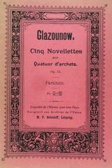 Cinq novellettes opus 15 pour quatuor d'archets - Alexandre Glazounow -  AA.VV. - Otras editoriales