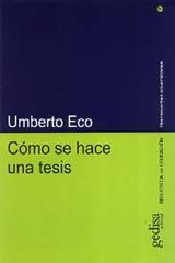 Cómo se hace una tesis - Humerto Eco - Editorial Gedisa