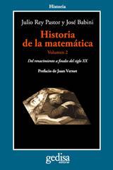 Historia de la matemática Volumen II - Julio Rey Pastor - Editorial Gedisa
