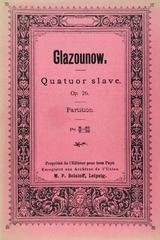 Quatuor slave pour deux violons, alto et violoncelle, op. 26 - Alexandre Glazounow -  AA.VV. - Otras editoriales