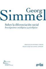 Sobre la diferenciación social - Georg Simmel - Editorial Gedisa