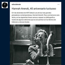 Hannah Arendt, 45 aniversario luctuoso