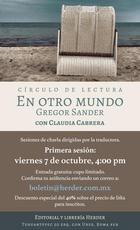"""Círculo de lectura """"En otro mundo"""", de Gregor Sander"""