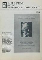Bulletin of the International Kodaly Society 1983/2 -  AA.VV. - Otras editoriales